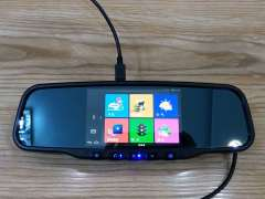 高端专车专用安卓后视镜记录仪导航电子狗一体机