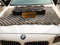 淄博宝马5系车载重低音炮音响改装交叉火力双炮